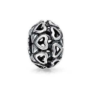 Bling Jewelry Offene Herzen Runde Wulst Bead Charms Für Damen Für Jugendlich Oxidiert 925 Sterling Silber Passt Europäischen Armband