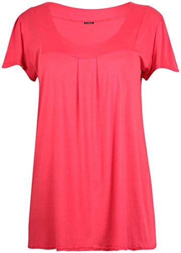Damen Übergröße Eckiger Ausschnitt Damen Kurzarm Plissiert Geformt langes T-Shirt oben Koralle