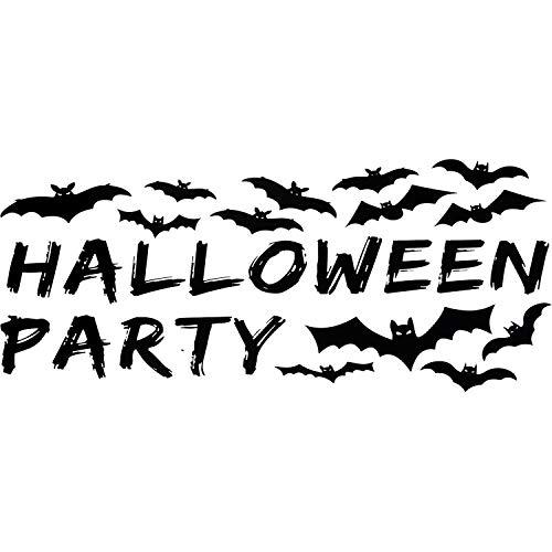 Halloween Fledermäuse Wandaufkleber Schwarz PVC Wandtattoos und Halloween Party Worte Fenster Aufkleber Party Supplies Dekoration (E Wörter Für Halloween)