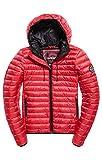 Superdry Core Down Hooded Jacket, Veste de Sport Femme, Rouge (Raspberry 46j), Medium (Taille Fabricant: 12.0)