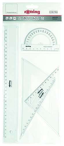 Rotring Centro Geometrie-Set mit Lineal/Winkelmesser/Geodreieck Geometrie-Set - 4 Stück Assortment