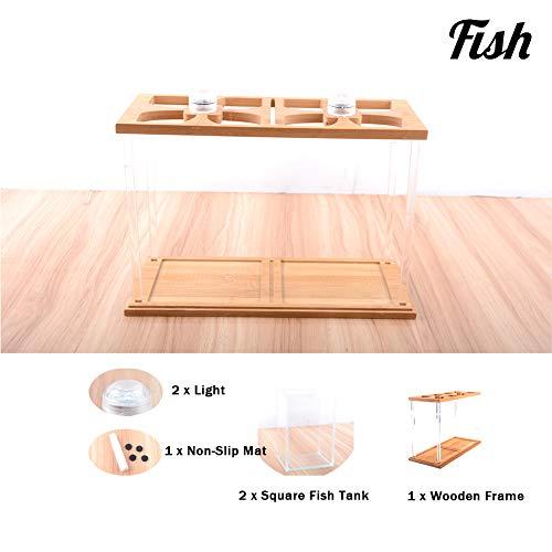 GXYWPF Desktop Mini Acquario Piccolo, Piccolo Betta Acquari, Carro Armato di Pesce Ecologico Creativo di bambù E di Legno,Suit3