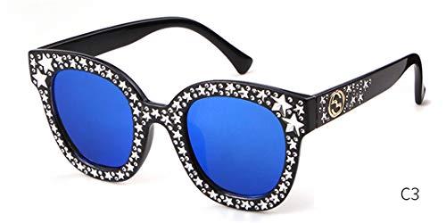 Stamm Quadratischen Form (DAIYSNAFDN Shinny Stars Sonnenbrille Frauen Mann Vintage Retro Quadratische Form Cateye Sonnenbrille C3)