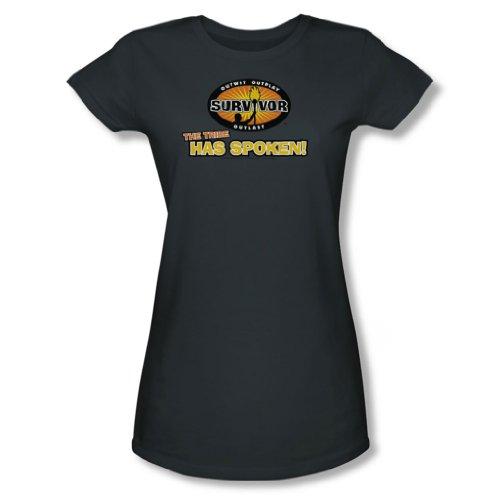 Cbs - Survivor / Der Stamm hat Gesprochene junge Frauen T-Shirt in der Holzkohle, X-Large, Charcoal