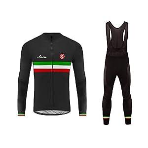 41TRYYCElbL. SS300 Uglyfrog Ciclismo Abbigliamento Uomo Termico Vello Inverno/Autumn da Bici Manica Lunga e Pantaloni Completo Anti-Freddo…