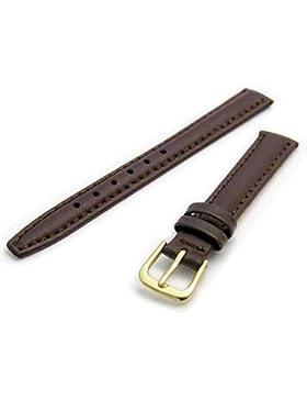 Glatte Gepolsterte Ersatz Uhrenarmband Leder 14mm braun mit einem vergoldet (Gold Farbe) Schnalle