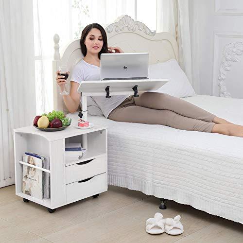 Mode Life Funktionelle drehbar Nachttisch Verstellbarer Holz Nachttisch mit Schubladen, Rollen und offenen Regal 19.67L*15.75W inch weiß -