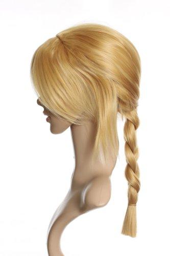Cosplayland C317 - Fullmetal Alchemist EDWARD ELRIC 50 cm perruque longue blonde avec deux couettes- résistante au lavage à haute température