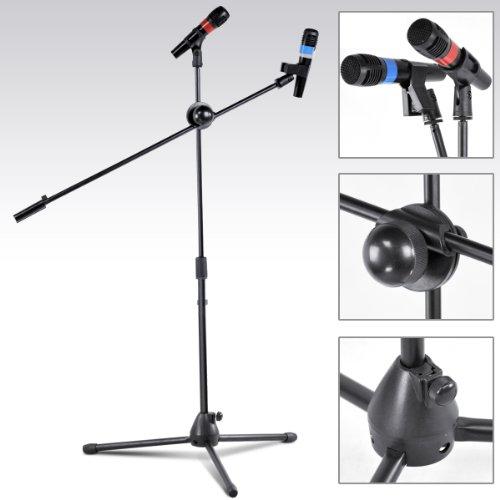 TOOGOO (R) Schwarz professionell und einstellbar Boden-Mikrofonstativ mit 2 Klemmen
