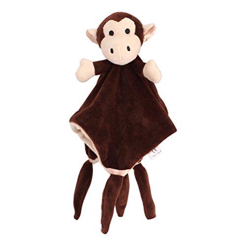 YeahiBaby Doudou Manta de Seguridad para Bebés Mantitas de Arrullo Peluche Animal Felpa Mono café
