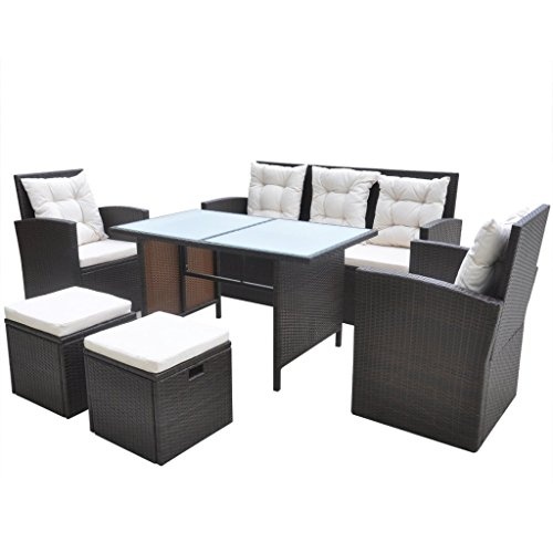 Preisvergleich Produktbild vidaXL 18-tlg. Garten Set Poly Rattan Essgruppe Sitzgruppe Lounge Gartengarnitur Braun