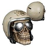 Preis am Stiel Halloween Spardose ''Totenkopf mit Helm und Sonnenbrille'' | Sparbüchse für Urlaub | Totenkopf Deko | Halloween Deko | witzige Spardosen für Männer
