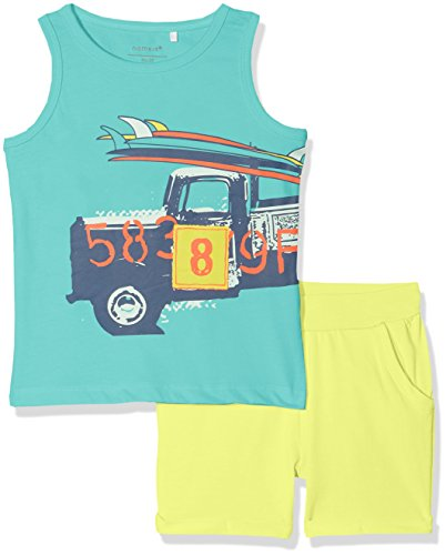 NAME IT Baby-Jungen Bekleidungsset NMMVILHELM Tank TOP Set D, Mehrfarbig (Pool Blue Detail: Packed Together W. Neon Lime Shorts), 98