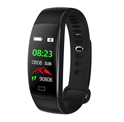 64HR Herzfrequenz Smart Band IP68 Wasserdicht Farbe Bildschirm Blutdruck Sauerstoff Fitness-Tracker Smart Armband GPS Uhr,Black ()
