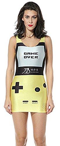 Thenice - Robe - Trapèze - Sans Manche - Femme Multicolore Mary Taille Unique Yellow Digital