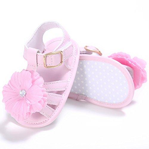 BOBORA Bambini ragazze principessa grande fiore primi camminatori scarpe bambino estate Flat sandali 0-18 mesi Rosa