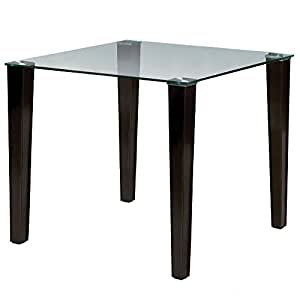 Julian bowen quattro glass top dining table dark brown for Dining room tables on amazon