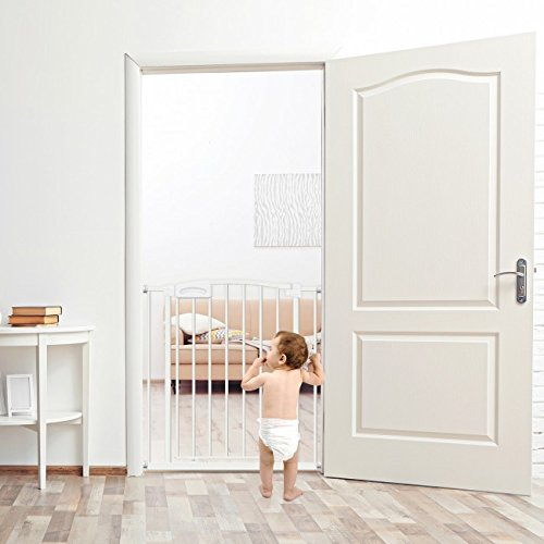 Callowesse Carusi Narrow Baby Gate 63-70cm - Metallic White. Self Closing, Quality Pressure Fitted Stair Gate. No Tools Required. Extendable to 130cm with Optional Extensions Available Separately.  Callowesse
