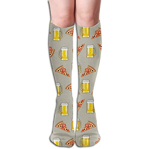 Gped Kniestrümpfe,Socken, Funny Unisex Beer And Pizza Slice Pattern Knee High Socks, Cool Sport Running Long Stockings