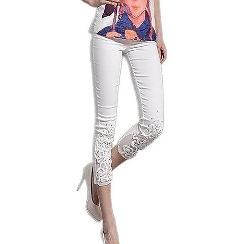 ZY/ Delle Fangyage nuove donne di stile coreano del merletto di base Skinny Pants , (Merletto Della Stampa Jeans)