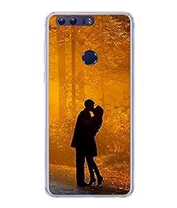 Snapdilla Designer Back Case Cover for Huawei Honor 8 ( Woman Man Light Nature Love Park Wallpaper Hug )