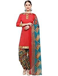 Kanchnar Women's Crepe Red Printed Unstitched Salwar Suit