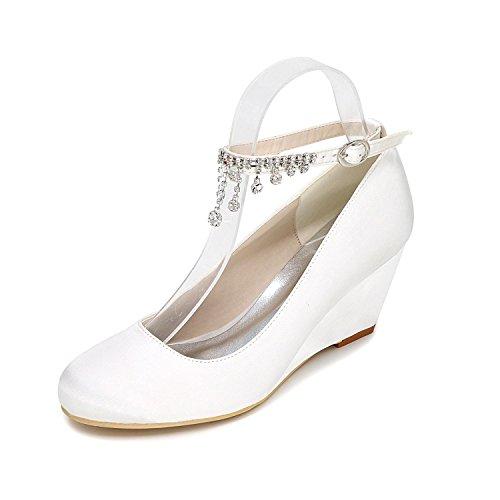 L@YC Damen Keil Schuhe High-Heeled Hochzeitsschuhe anpassung 9140-05 Close Toe Krawatte Mehrfarbig , white , 38 (Schwarz Kork Keil)