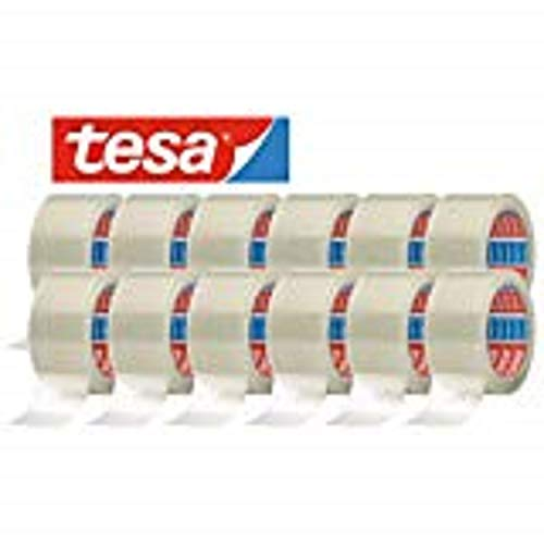 tesa 64014 Klebeband Paketklebeband Packband 66m x 50mm (12 Rollen, Transparent)