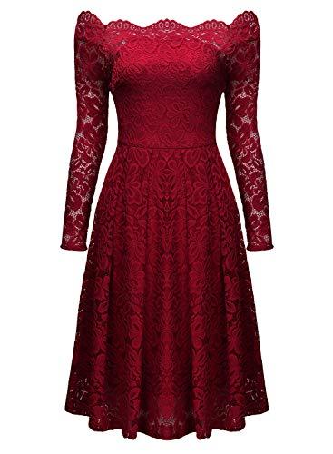 Miusol Damen Vintage 1950er Off Schulter Cocktailkleid Retro Spitzen Schwingen Pinup Rockabilly Kleid - 5