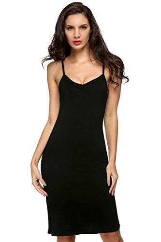 Tomasa donna estate vestito sottoveste v-collo spalline sottili biancheria da notte nero/colore nudo (xxl, nero)