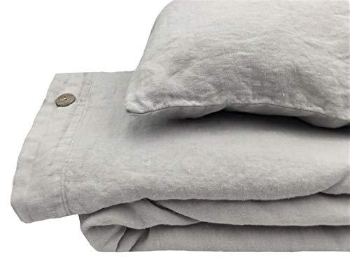 Jowollina Leinen Bettwäsche-Set: Bettbezug 200x200 cm+2 Kissenbezüge 70x50 cm Stonewashed Mausgrau