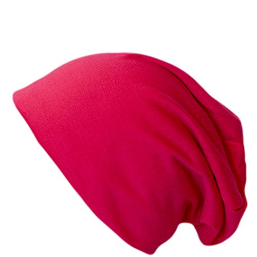 Jersey Long Slouch Beanie Unisex (pink) (Fashion Pink Jersey)