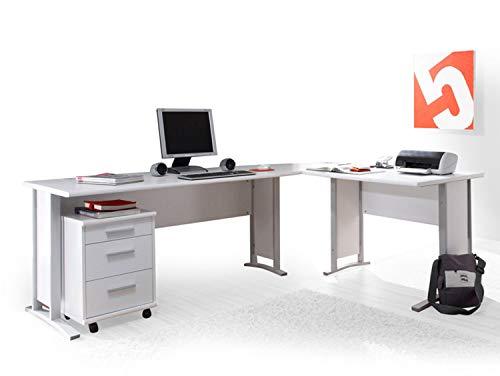 moebel-eins Office Line Winkelkombination Schreibtisch Ecktisch Tisch Bürotisch in weiss -