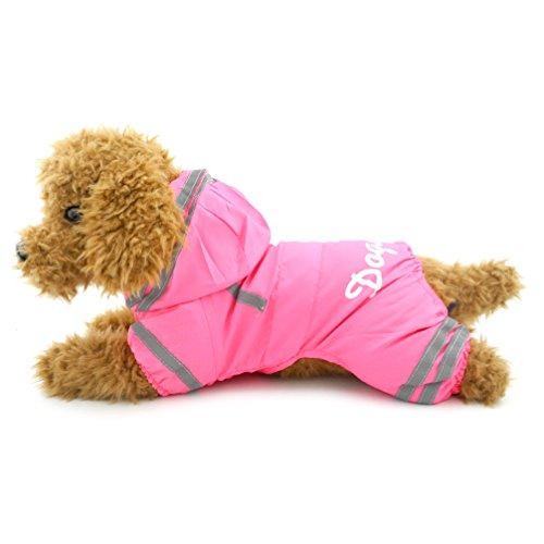 (ranphy Kleiner Hund/Katze Regenmantel Wasserdicht Jumpsuit Regenmantel mit Kapuze Mesh Regen Poncho mit Haken Pink XL)