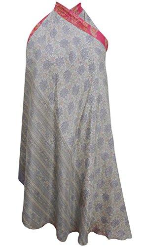Seide Saree (Reine Seide Frauen Blumendruck Grau Reversible Boho Hippie Vintage Saree Wrap)