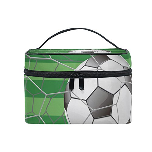 COOSUN Fußball Ball ins Tor mit Rasen Cosmetic Bag Canvas Travel Kulturbeutel Spitzenhandgriff Single Layer-Verfassungs-Beutel-Organisator Multi-Funktions-kosmetischen Fall für Groß mehrfarbig # 007
