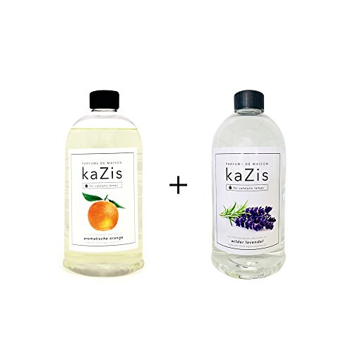 Berger Lampe Lavendel-öl (KAZIS WELT I PARFUMS DE MAISON – 2 x 1 Liter I Duft-Set Lavendel + Orange Alternative für d. Lampe Berger I Duft Öl I Nachfüllöl (Refill) I Raum Duft I Parfum I 2 x 1000 ml)