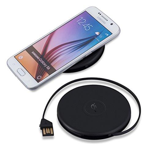kwmobile Drahtloses Qi Ladegerät rund mit integriertem USB Kabel - für alle Qi-fähigen Geräte wie Nokia HTC LG Apple und Samsung in Schwarz matt