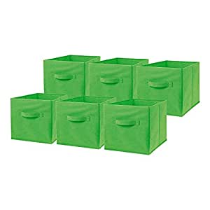Top Home Solutions 6 Pack Large Foldable Square Canvas Cube Storage Box Collapsible Fabric Cubes Kids Bedroom Office (Green)