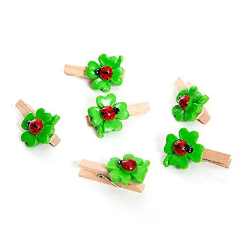 6 Stück grün rote KLEEBLATT mit Marienkäfer 4,5 cm Poly DEKO-KLAMMERN Zierklammern Holzklammern Mini-Wäscheklammern Bastel-Klammern Tüten-Clips Glücksbringer Glücksklee Streu-Deko