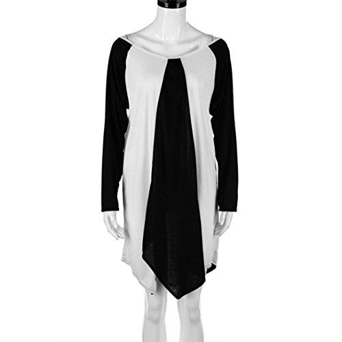 Rcool Frauen Plus Size Solid O-Neck Kleid Langes Hülsenstitching Hem Unregelmäßiges Kleid Weiß