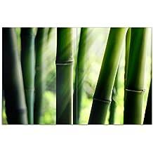 Herdabdeckplatte 1-teilig aus Glas 60x52cm Steinstapel Bambus Wasser Seerose