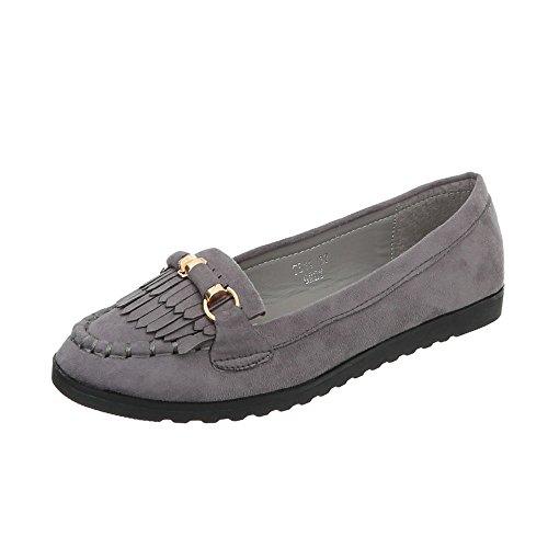 Ital-Design Chaussures Femme Mocassins Plat Slippers gris TS11