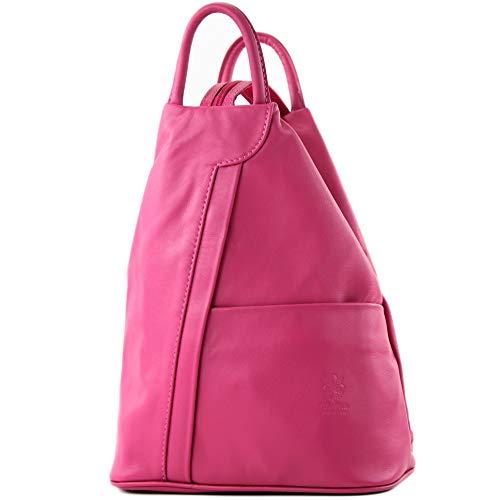 modamoda de - T180 - ital Damen Rucksack Tasche Nappaleder, Farbe:Pink