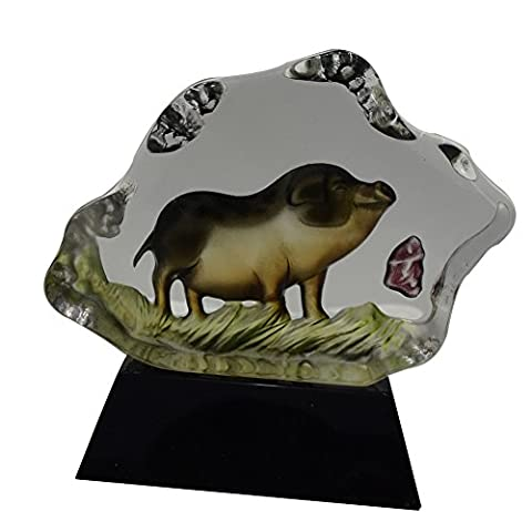 ACEVER® 5.51-inch by 4.06-inch Handmade Painted Pig Crystal Figurine Sculpture