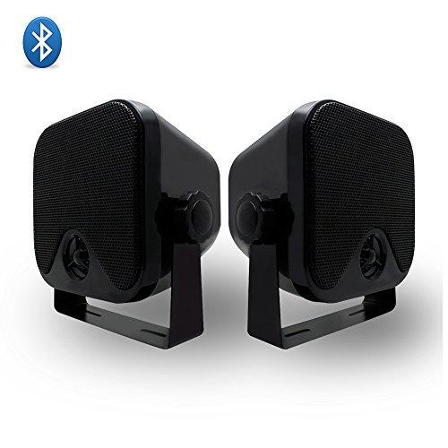 Herdio 100W 10,2 cm kompakter Wasserdichter Bluetooth Marine Stereo Box Lautsprecher für Boot ATV UTV Heavy Duty Powersport Fahrzeuge Hof Schwarz