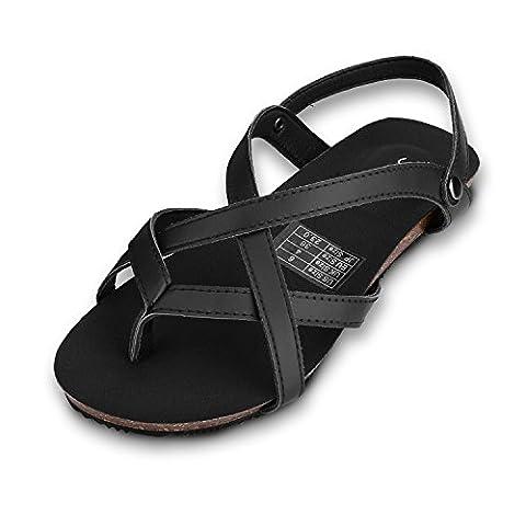 Sibba Zehentrenner Sandale und Pantoffeln 2 in 1 Sommer Einstellbare Flachschuhe Schwarz/Braun (EU37.5, Schwarz)