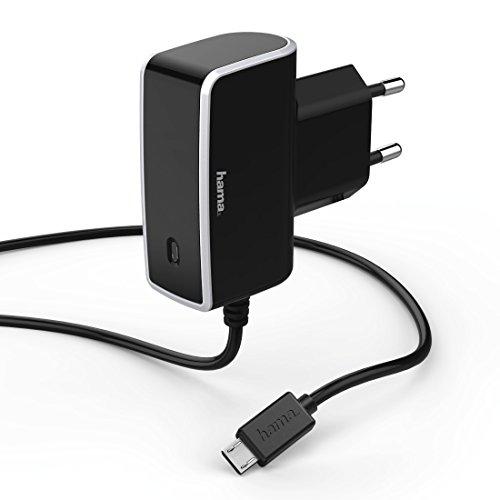 Hama Schnell- und Reiseladegerät mit microUSB (ideal für Samsung Galaxy S5, S5 mini, S4, S4 mini, S3, S3 mini, S2, nur 81 Gramm, 1000 mA, 100-240V, Länge 150 cm, LED-Funktionsanzeige) schwarz