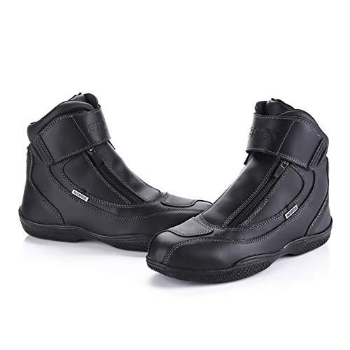 Scarpe da Corsa per Moto Stivali da Moto Pelle Uomo Impermeabile Stivali Slittata di Gomma Basso Nudo Sport per Il Tempo Libero Scarpe da Viaggio,Black-UK5.5/EUP39.5