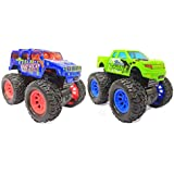 Popsugar Friction Powered Die Cast Monster Truck (2Pcs) with Rubber Wheels for Kids, Multicolor